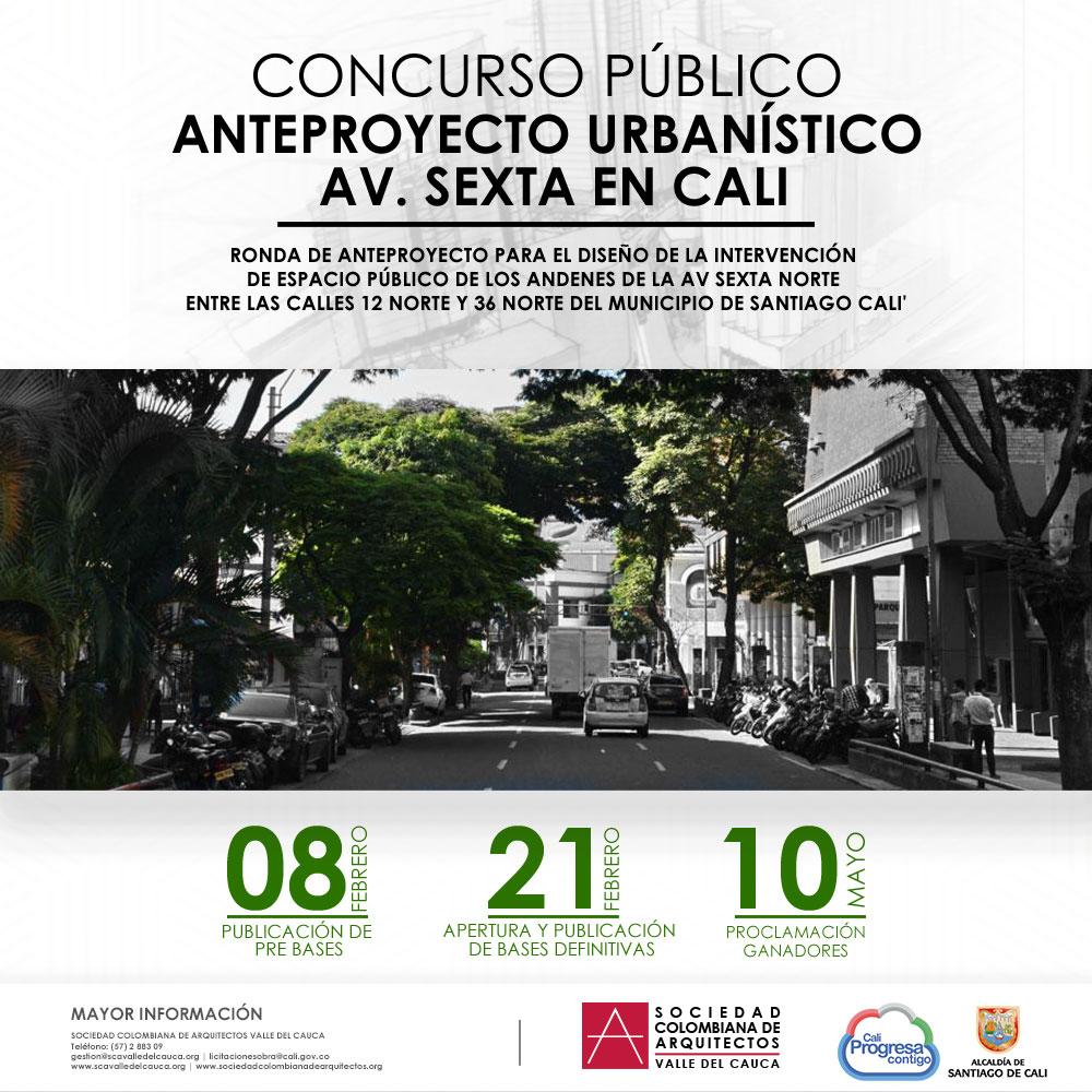Concurso Público – Anteproyecto Urbanístico Av. Sexta (Pre-bases)